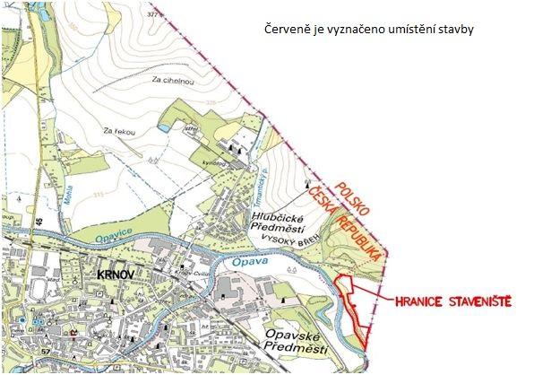 hráz na LB Opavy pod Krnovem - mapka